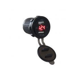 34562 2x USB nabíječka s voltmetrem voděodolná do panelu, červená USB zásuvky