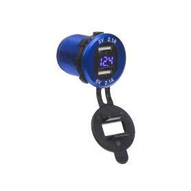 34565B 2x USB nabíječka s voltmetrem, hliníková do panelu, modrá USB zásuvky