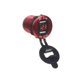 34565R 2x USB nabíječka s voltmetrem, hliníková do panelu, červená USB zásuvky