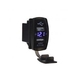 """34566B 2x USB zásuvka """"Rocker"""" s voltmetrem, modrá USB zásuvky"""