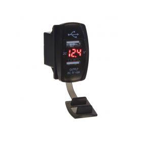 """34566R 2x USB zásuvka """"Rocker"""" s voltmetrem, cervena USB zásuvky"""