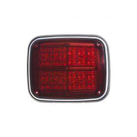 Výstražné LED světlo obdélníkové, 12/24V, červené