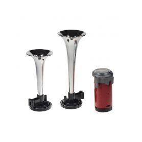 2-tónová fanfára 220mm, 12V s kompresorem chrom ECE R28 1-sn-022-12vch