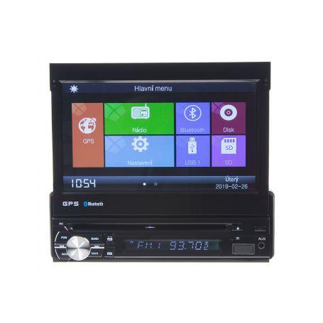 """80822GPS 1DIN DVD autorádio s výsuvným 7"""" LCD, bluetooth,multicolor, SD/USB/FM/DUAL-GPS/RDS/ČESKÉ MENU Pevné GPS navigace"""
