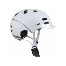 SAFE-TEC 2003-154 SK8 White L (58cm - 61cm) Chytré bluetooth helmy na kolo
