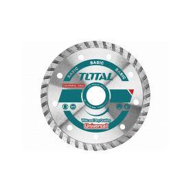TOTAL-TOOLS TAC2131153 Kotouč diamantový řezný, Turbo, suché i mokré řezání, 115mm Diamantové řezné kotouče