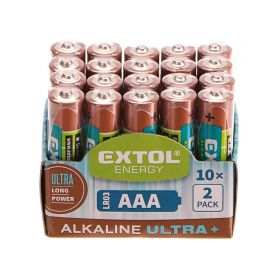 EXTOL-LIGHT EX42012 Baterie alkalické EXTOL ENERGY ULTRA +, 20ks, 1,5V AAA (LR03) Baterie