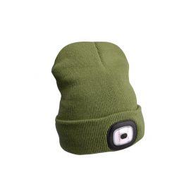 EXTOL-LIGHT EX43192 Čepice s čelovkou, nabíjecí, USB, zelená, univerzální velikost Čelovky