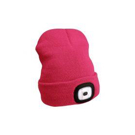 EXTOL-LIGHT EX43193 Čepice s čelovkou, nabíjecí, USB, růžová, univerzální velikost Čelovky