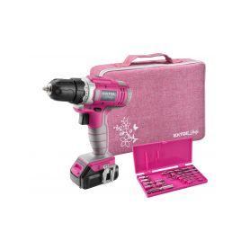 EXTOL-LADY EX402401 Vrtací šroubovák aku, růžový, 1x1300mAh, 12V Li-Ion, sada v tašce, EXTOL LADY, 402401 Aku šroubováky