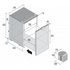VITRIFRIGO VITRIFRIGO C75DW výsuvná chladnička 12/24 V 75 litrů, externí kompresor