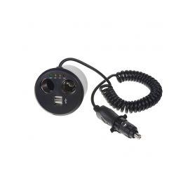dvojitá CL zásuvka s USB do držáku na pití s kabelem a CL zástrčkou