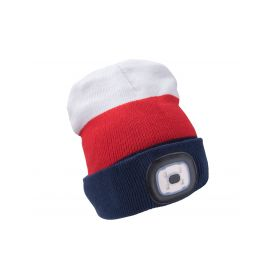 EXTOL-LIGHT EX43450 Čepice s čelovkou 4x45lm, USB nabíjení, bílá/červená/modrá, univerzální velikost Čelovky