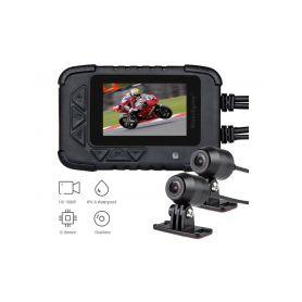 """DVRB06M Motocyklová DUAL FULL HD kamera, 2,4"""" LCD, IP67 s GPS Dvoukanálové záznamové kamery"""