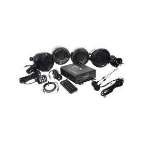 RSM104BL 4.1CH zvukový systém na motocykl, skútr, ATV, loď s FM, USB, AUX, BT, černé Subwoofery