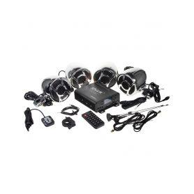 RSM104CH 4.1CH zvukový systém na motocykl, skútr, ATV, loď s FM, USB, AUX, BT, chrom Subwoofery
