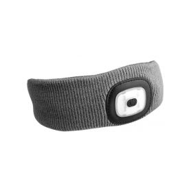 SIXTOL SX5023 Čelenka s čelovkou 180lm, nabíjecí, USB, univerzální velikost, světle šedá Čelovky