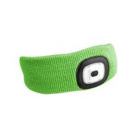 SIXTOL SX5024 Čelenka s čelovkou 180lm, nabíjecí, USB, univerzální velikost, fluorescentní zelená Čelovky