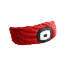 SIXTOL SX5027 Čelenka s čelovkou 180lm, nabíjecí, USB, univerzální velikost, červená Čelovky