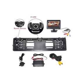 """PS2SPZCAM43 Parkovací systém s kamerou a 2 senzory v SPZ, 4,3"""" monitor Parkovací sady"""