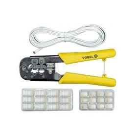 TOYA TO-45503 Kleště konektorové + kabel 2,5m, na konektory RJ 11, 45, ergonomická rukojeť Odizolovací
