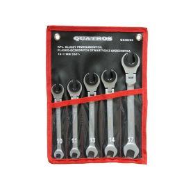 QUATROS QS50200 Očkoploché kloubové klíče s ráčnou na převlečné matice, 10 - 17 mm, 5 ks Očkoploché