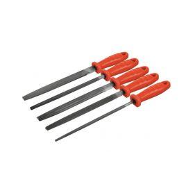 EXTOL PREMIUM Pilníky, 5ks, 200mm, plochošpičatý, úsečový, kruhový, tříhranný, čtyřhranný EXTOL-PREMIUM