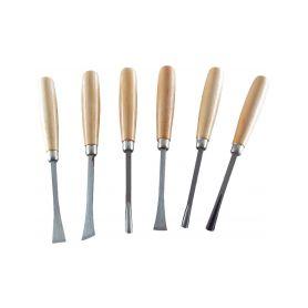 EXTOL-CRAFT EX3936 Dláta řezbářská s dřevěnou rukojetí, sada 6ks, délka dlát 165mm Dláta, pilníky a hoblíky