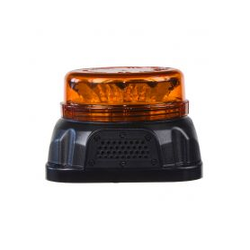 KF90 LED maják, 12-24V, 12x3W oranžové barvy s integrovanou zvukovou signalizací, fix LED pevná montáž