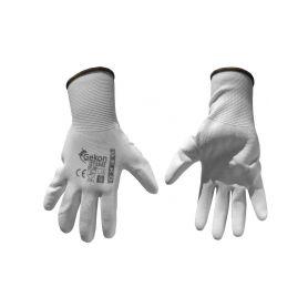 "GEKO G73542 Ochranné rukavice bílé z pletené bavlny, polomáčené v PU, velikost 9"" Pracovní rukavice"