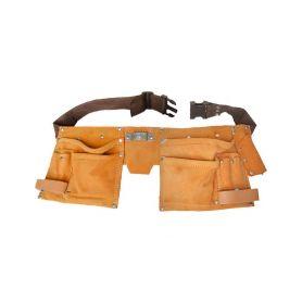 EXTOL-CRAFT EX417 Pás na nářadí kožený, 10 kapes, 2 poutka, háček na svinovací metr Pásy, tašky a kufry na nářadí