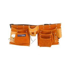 EXTOL PREMIUM Pás na nářadí kožený, 9 kapes (2 velké, 3 střední, 4 malé) EXTOL-PREMIUM