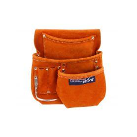 EXTOL-PREMIUM EX421 Pás na nářadí kožený bez opasku, 5 kapes, držák na kladivo, tesařský typ Pásy, tašky a kufry na nářadí