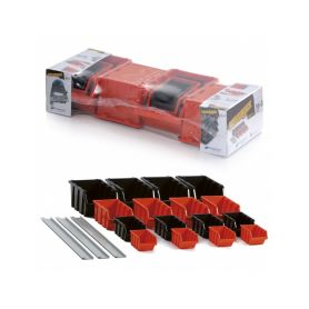 PROSPERPLAST NPST16 SADA BOXU SETTRUCK S LIŠTOU NA ZEĎ 580X230X130,16 BOXŮ 4 VELIKOSTÍ ( NP10,8,6,4) Kufry a pořadače nářadí