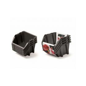 PROSPERPLAST Set plastových úložných boxů 4ks BINEER SHORT SET 272x238x236 černý PROSPERPLAST