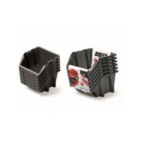 PROSPERPLAST Set plastových úložných boxů 6ks BINEER SHORT SET 214x198x238 černý PROSPERPLAST