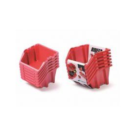 PROSPERPLAST Set plastových úložných boxů 6ks BINEER SHORT SET 214x198x238 červený PROSPERPLAST