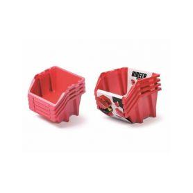 PROSPERPLAST Set plastových úložných boxů 4ks BINEER SHORT SET 272x238x236 červený PROSPERPLAST