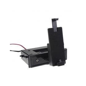 11072M univerzální plastová přihrádka do otvoru DIN s držákem pro telefon s micro USB UNI rámečky a přihrádky