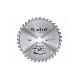 EXTOL-PREMIUM EX8803226 Kotouč pilový s SK plátky, 185x2,2x20mm, 36T, šířka SK plátků 3,2mm, SK Pilové kotouče