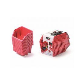 PROSPERPLAST Set plastových úložných boxů 10ks BINEER SHORT SET 288x158x187 červený PROSPERPLAST