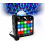 Kompaktní Bluetooth party audio systém s vestavěnou světelnou polokoulí a LED panelem, které obohacují hudbu o světelnou show.