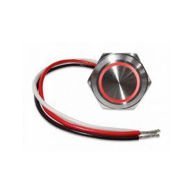 47065 Tlačítko kovové kulaté, červené podsvícení, programovatelné s časovou funkcí Relé 12V