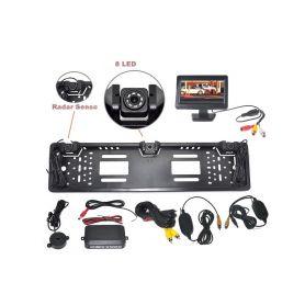 """CW2-SPZCAM43 Bezdrátový parkovací systém s kamerou a 2 senzory v SPZ, 4,3"""" monitor Parkovací sady"""